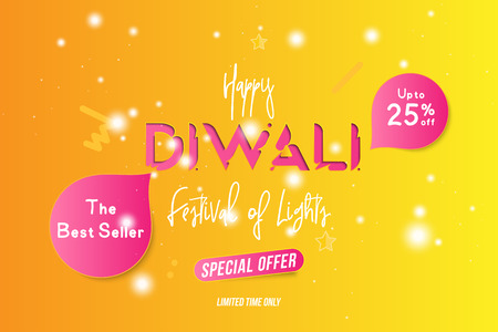 Banner Diwali Festival of lights with special offer Sale 25% off. Creative template with decoration elements and shadow on the yellow background. Flat vector illustration
