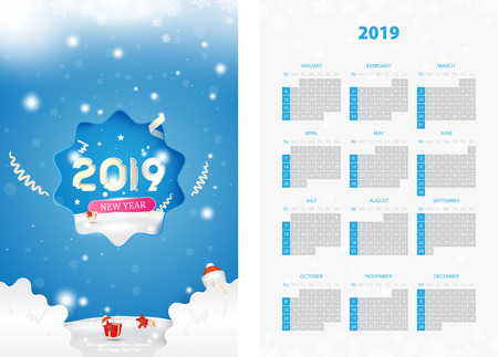 Two-sided calendar for the new year 2019 with gift box on blue background. Creative template with decoration elements and light elements. Flat vector illustration EPS10. Ilustração