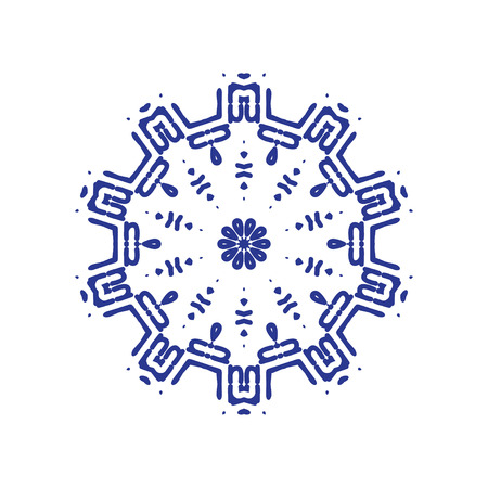 Ethnic symbol in a geometric and symmetrical design
