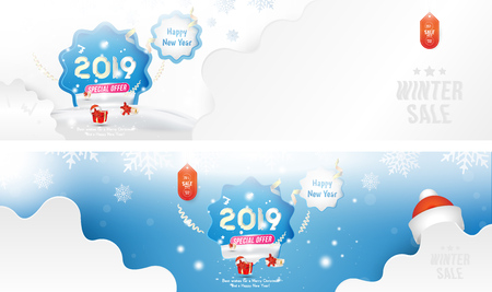 Winter Sale 25%. Happy new year 2019 Long greeting card template with gift box and snowdrifts on blue background with special offer. Creative banners with ribbons and light effects.. Ilustração