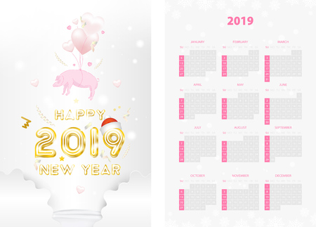 Two-sided calendar for the new year 2019 with golden text and pink pig on white background. Creative template with decoration elements and light elements. Flat vector illustration EPS10. Ilustração