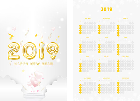 Two-sided calendar for the new year 2019 with golden text on white background. Creative template with decoration elements and light elements. Flat vector illustration EPS10.