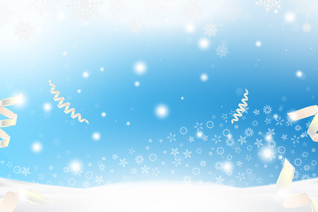 Christmas and New Year background with ribbon, snowflakes and light effects on a blue background. Flat vector illustration EPS10.