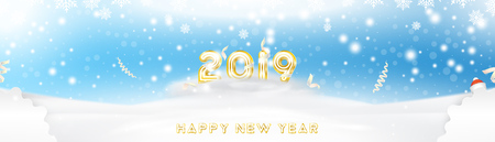 Postcard 2019 on the Christmas and New Year background with original gold shining font. Creative template with decoration elements. Flat vector illustration EPS10.