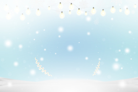 Christmas and New Year background with ribbon and light garlands, snowflakes and snowdrift. Flat vector illustration EPS10. Ilustração