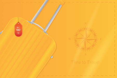 Time to Travel. Banner with Sale and special offer 25% on tourism. Plastic travel bag with vintage compass on an orange background