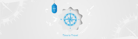 Time to Travel. Banner with Sale and special offer 25% on tourism. Concept with vintage compass on an light background