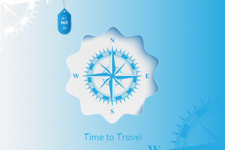 Time to Travel. Banner with Sale and special offer 25% on tourism. Concept with vintage compass on an blue background