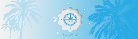 Time to Travel. Banner with vintage compass and silhouettes of tropical palm trees on a blue background for tourism. Ilustração