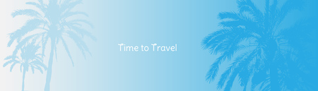 Time to Travel. Banner with silhouettes of tropical palm trees on a blue background for tourism