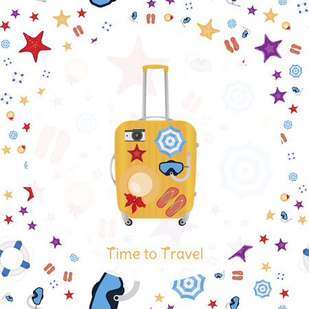 Time to Travel. Banner with plastic bag with seamless pattern on the theme of tourism and recreation. Flat vector illustration EPS 10