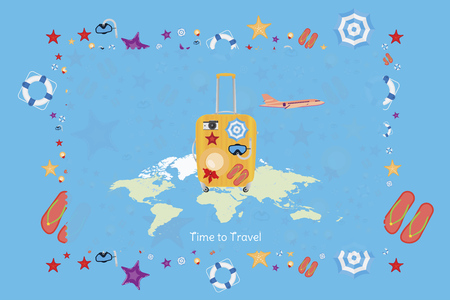 Time to Travel. Banner with plastic bag and plane on a background world map. Concept with a set of beach accessories for tourism and recreation. Flat vector illustration EPS 10 Ilustração