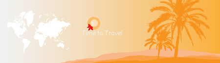 Time to Travel. Banner with silhouettes of tropical palm trees and world map on a orange background for tourism