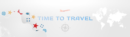 Time to Travel. Banner with font inscription and plane for tourism. Concept with vintage compass and world map on an light background.