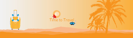 Time to Travel. Banner with silhouettes of tropical palm trees and plastic bag on a orange background for tourism