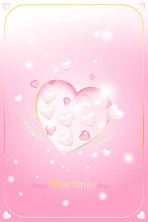 Valentine Day greeting card template. Celebration concept with Pink hearts and light effects on background with ribbons