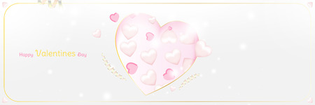 Happy Valentines Day greeting card template. Celebration concept with Pink hearts and light effects on background with ribbons