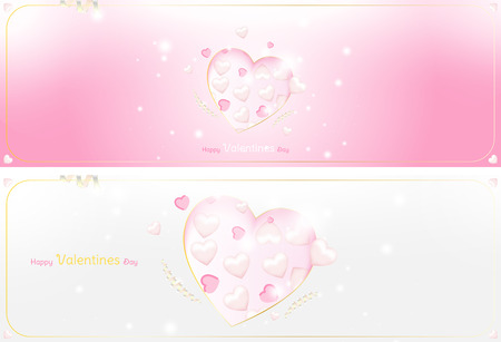 Happy Valentines Day set greeting cards template. Celebration concept with Pink hearts and light effects on background with ribbons