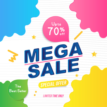 Super sale 70% off discount. Banner template for design advertising and poster with colors elements on white background. Flat vector illustration EPS 10.