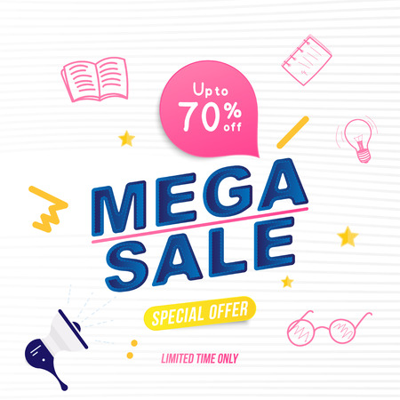 Mega sale 70% and special offer. Banner template with doodle icons and loudspeaker for design advertising and poster. Flat vector illustration EPS 10. Vector Illustration