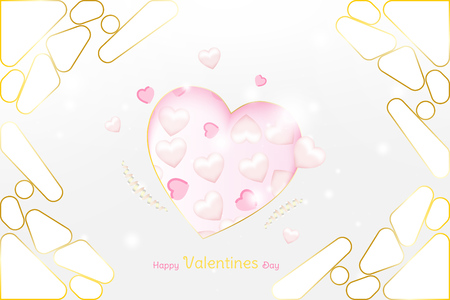 Valentine Day greeting card luxury template. Celebration concept with Pink hearts and gold elements on background with ribbons