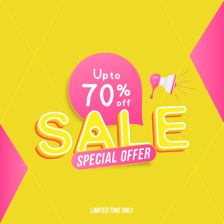 Super sale 70% off discount. Banner template for design advertising and poster with colors elements and loudspeaker on white background. Flat vector illustration EPS 10.