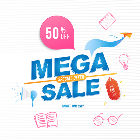 Mega Sale 50% banner template design with doodle icons. Loudspeaker and paper airplane with special offer. Vector illustration