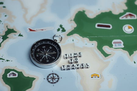 Time to Travel. Idea for tourism with compass and map. Concept on the theme of flights