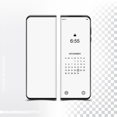New technology, folding smartphone with a flexible screen. Mockup front side phone for your design template