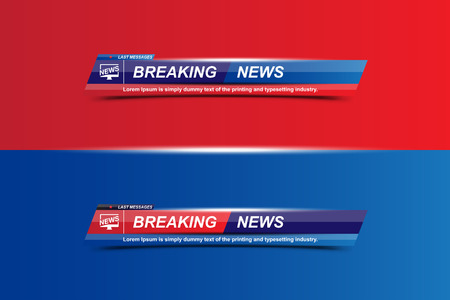 Breaking News-sjabloontitel met schaduw op witte achtergrond voor scherm Tv-zender. Platte vectorillustratie