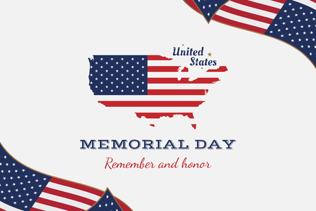 Happy memorial day. Greeting card with flag and map. National American holiday event. Illustration