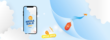 Banner Mega Sale in Mockup Smartphone. Special offer 50% with Plane on the background of clouds cut out of paper