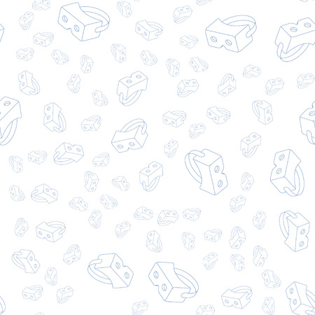 Seamless Pattern with isometric icons VR glasses. Flat vector illustration EPS 10