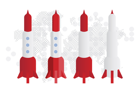 Rockets against the background of the technological world map. Flat vector illustration EPS10. Illustration