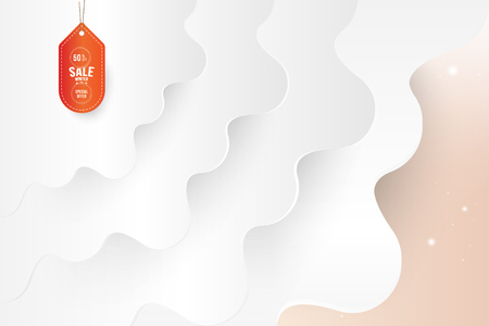 Sale 50% discount label on wavy background with shadow and light