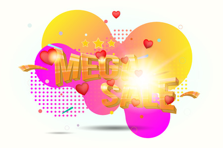 Mega sale. Concept for big discounts with voluminous text and red hearts on colour liquid background with light effects. Flat vector illustration EPS10.
