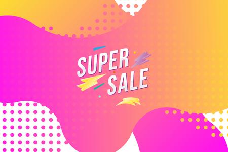 Super Sale on colour liquid background. Flat vector illustration EPS 10.