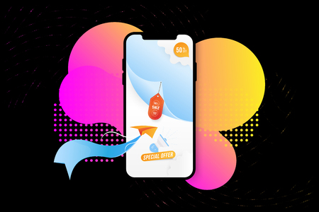 Banner Super Sale in Mockup Smartphone. Special offer 50 with paper plane and loudspeaker on colour liquid background. Flat vector illustration EPS 10.