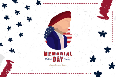 Happy Memorial Day. Greeting card with Soldier and original font and USA flag. Template for American holidays. Flat illustration EPS10