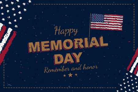 Happy Memorial Day. Greeting card with original font and USA flag. Template for American holidays. Flat illustration EPS10