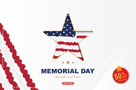 Happy memorial day. Greeting card with Sale 50 offer and star close up and USA flag with shadow. National American holiday event. Flat Vector illustration EPS10