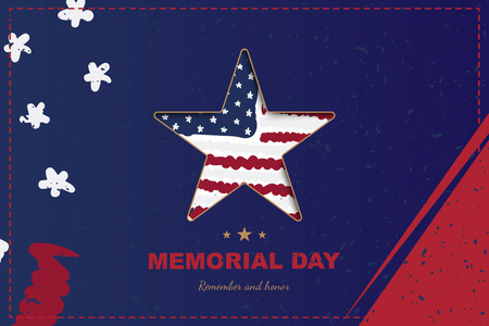 Happy memorial day. Greeting card with star close up and USA flag with shadow. National American holiday event. Flat Vector illustration EPS10
