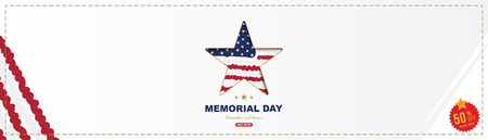 Happy memorial day. Horizontal long banner with Sale 50 offer with a big star with a shadow, on the background of the USA flag. National American holiday event. Flat Vector illustration EPS10