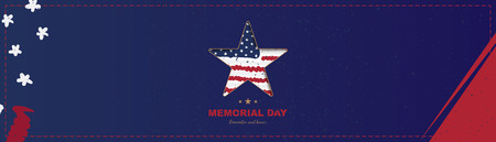 Happy memorial day. Horizontal long banner with a big star with a shadow, on the background of the USA flag. National American holiday event. Flat Vector illustration EPS10 Illustration