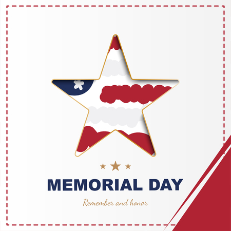 Happy memorial day. Square banner with a big star with a shadow, on the background of the USA flag. National American holiday event. Flat Vector illustration EPS10 Illustration