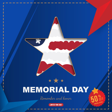 Happy memorial day. Square banner with Sale 50 offer with a big star with a shadow, on the background of the USA flag. National American holiday event. Flat Vector illustration EPS10