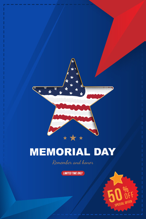 Happy memorial day. Vertical banner with Sale 50 offer with a big star with a shadow, on the background of the USA flag. National American holiday event. Flat Vector illustration EPS10