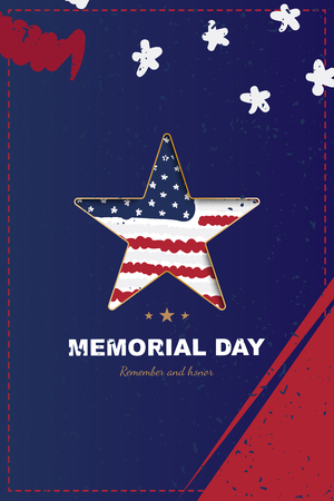 Happy memorial day. Vertical banner with a big star with a shadow, on the background of the USA flag. National American holiday event. Flat Vector illustration EPS10