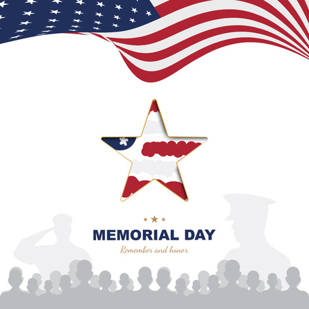 Happy Memorial Day. Greeting card template with Usa flag with star and veteran silhouettes on white background. National American holiday event.