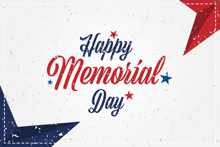 Happy Memorial Day. Greeting card with original font and stars. Template for American holidays with texture. Flat illustration EPS10